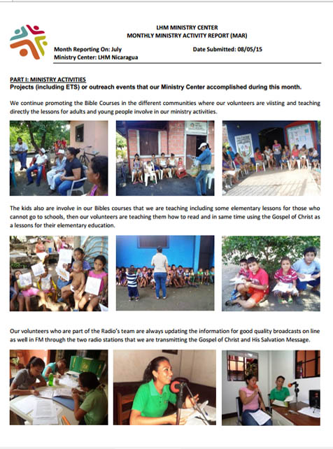 7 July Newsletter- LHM Nicaragua 2015