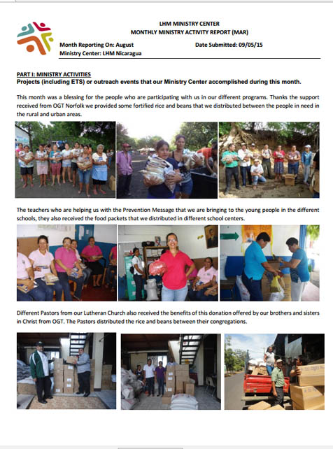 8 August Newsletter- LHM Nicaragua 2015
